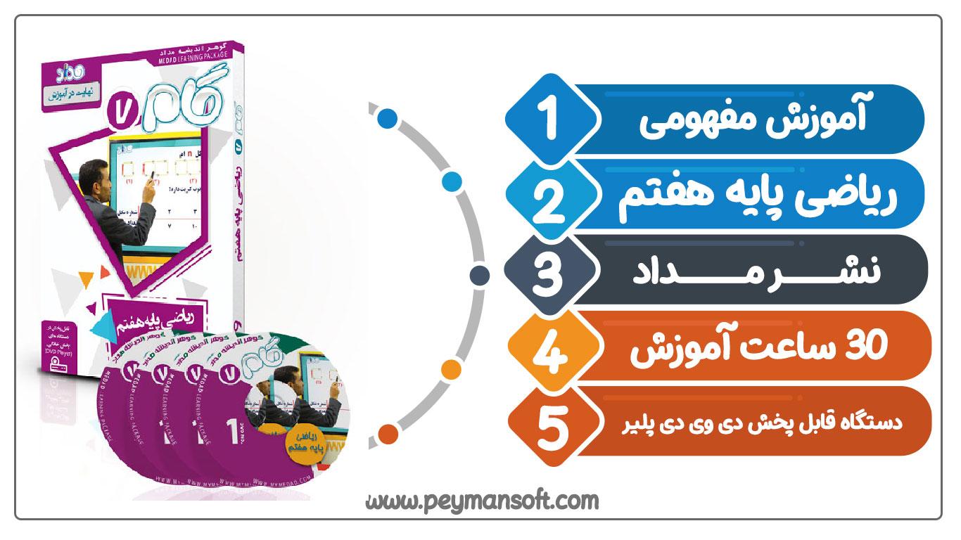آموزش تصویری ریاضی پایه هفتم نشر مداد (گام)